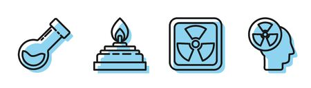 Set line Radioactive, Test tube and flask chemical, Alcohol or spirit burner and Human head and a radiation icon. Vector Illusztráció