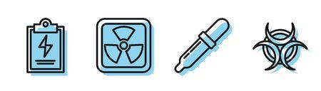 Set line Pipette, Laboratory clipboard with checklist, Radioactive and Biohazard symbol icon. Vector