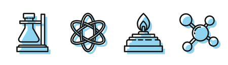 Set line Alcohol or spirit burner, Test tube flask on stand, Atom and Molecule icon. Vector Illusztráció
