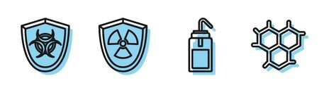 Set line Laboratory wash bottle, Biohazard symbol on shield, Radioactive in shield and Chemical formula icon. Vector