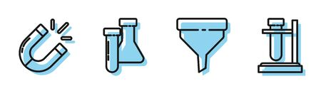 Set line Funnel or filter, Magnet, Test tube and flask chemical and Test tube flask on stand icon. Vector