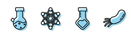 Set line Test tube and flask chemical, Test tube and flask chemical, Atom and Bacteria icon. Vector