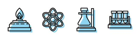 Set line Test tube flask on stand, Alcohol or spirit burner, Atom and Test tube and flask chemical icon. Vector Illusztráció