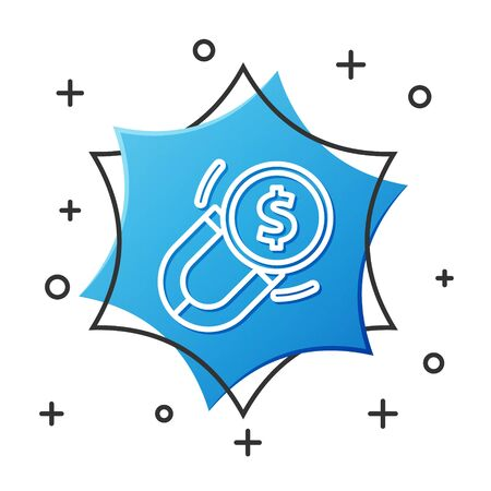 White line Magnet with money icon isolated on white background. Concept of attracting investments. Big business profit attraction and success. Blue hexagon button. Vector Illustration