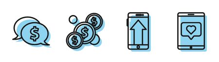 Set line Smartphone, mobile phone, Speech bubble with dollar, Coin money with dollar and Mobile phone and like with heart icon. Vector Ilustracja