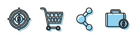 Set line Share, Target with dollar, Shopping cart and Briefcase and money icon. Vector