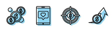 Set line Target with dollar, Coin money with dollar, Mobile phone and like with heart and Financial growth and coin icon. Vector