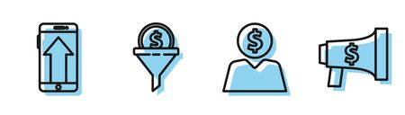Set line Business man planning mind, Smartphone, mobile phone, Lead management and Megaphone and dollar icon. Vector