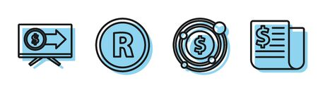 Set line Target with dollar symbol, Monitor with dollar, Registered Trademark and Financial news icon. Vector