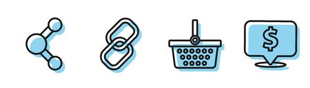 Set line Shopping basket, Share, Chain link and Speech bubble with dollar icon. Vector Illustration
