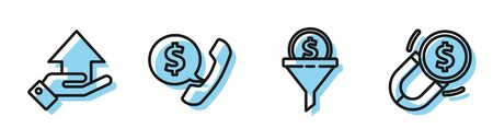 Set line Lead management, Money on hand, Telephone handset and speech bubble chat and Magnet with money icon. Vector