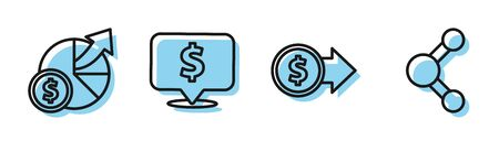 Set line Coin money with dollar symbol, Money and diagram graph, Speech bubble with dollar and Share icon. Vector