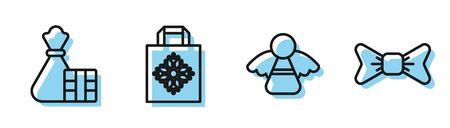 Set line Christmas angel, Gift box and bag, Christmas paper shopping bag and Bow tie icon. Vector Archivio Fotografico - 140285154