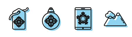 Set line Christmas on smartphone and snowflake, Price tag with an inscription Sale, Christmas ball and Mountains icon. Vector