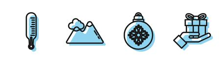 Set line Christmas ball, Meteorology thermometer measuring, Mountains and Gift box in hand icon. Vector