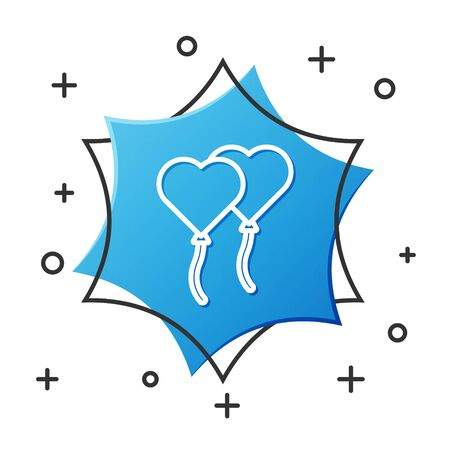 White line Balloons in form of heart with ribbon icon isolated on white background. Valentines day. Blue hexagon button. Vector Illustration 向量圖像