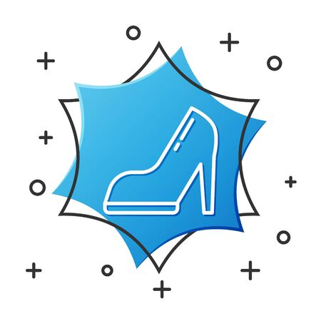 White line Woman shoe with high heel icon isolated on white background. Blue hexagon button. Vector Illustration