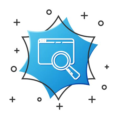 White line Search in a browser window icon isolated on white background. Blue hexagon button. Vector Illustration