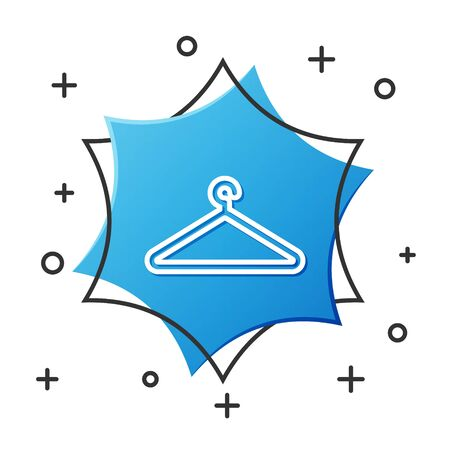 White line Hanger wardrobe icon isolated on white background. Cloakroom icon. Clothes service symbol. Laundry hanger sign. Blue hexagon button. Vector Illustration Illustration