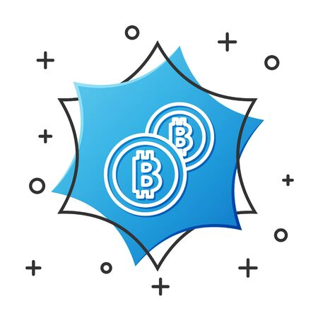White line Cryptocurrency coin Bitcoin icon isolated on white background. Physical bit coin. Blockchain based secure crypto currency. Blue hexagon button. Vector Illustration Ilustrace