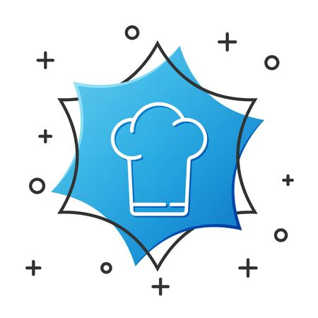 White line Chef hat icon isolated on white background. Cooking symbol. Cooks hat. Blue hexagon button. Vector Illustration