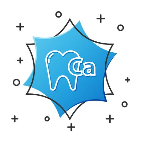White line Calcium for tooth icon isolated on white background. Tooth symbol for dentistry clinic or dentist medical center. Blue hexagon button. Vector Illustration 일러스트