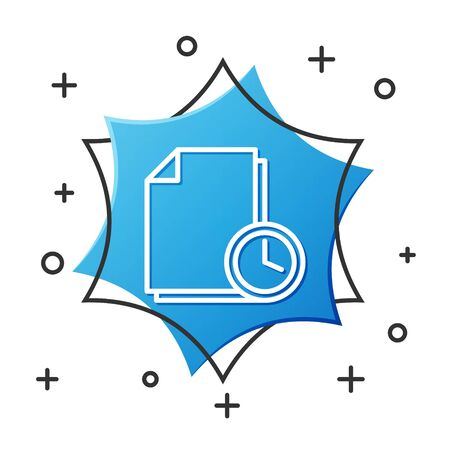 White line Document with clock icon isolated on white background. Document and countdown, deadline, schedule, planning symbol. Blue hexagon button. Vector Illustration Ilustrace