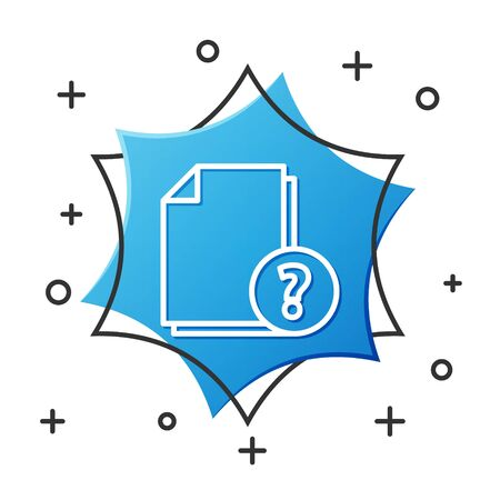 White line Unknown document icon isolated on white background. File with Question mark. Hold report, service and global search sign. Blue hexagon button. Vector Illustration