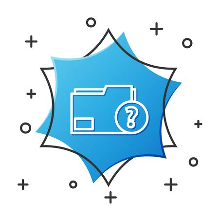 White line Unknown document folder icon isolated on white background. File with Question mark. Hold report, service and global search sign. Blue hexagon button. Vector Illustration
