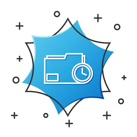 White line Document folder with clock icon isolated on white background. Document and countdown, deadline, schedule, planning symbol. Blue hexagon button. Vector Illustration