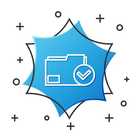 White line Document folder and check mark icon isolated on white background. Checklist icon. Business concept. Blue hexagon button. Vector Illustration