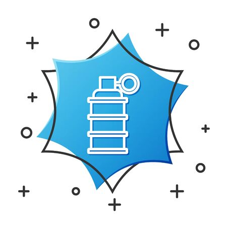 White line Hand grenade icon isolated on white background. Bomb explosion. Blue hexagon button. Vector Illustration Иллюстрация