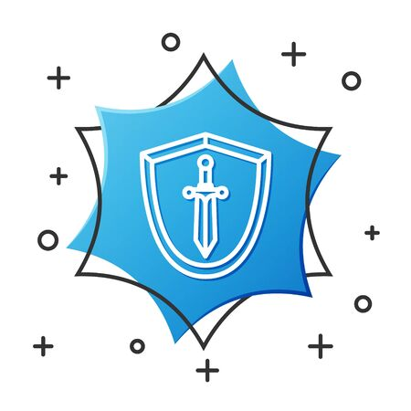 White line Medieval shield with sword icon isolated on white background. Blue hexagon button. Vector Illustration