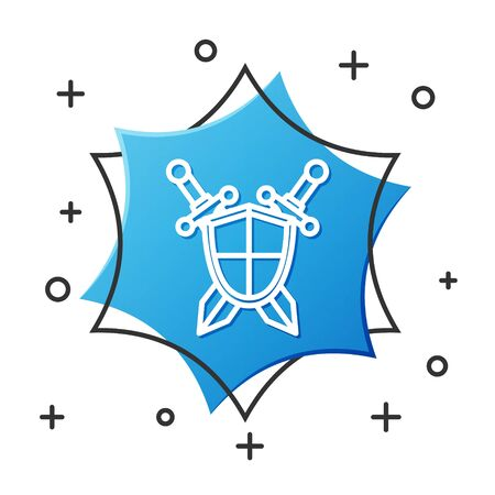 White line Medieval shield with crossed swords icon isolated on white background. Blue hexagon button. Vector Illustration