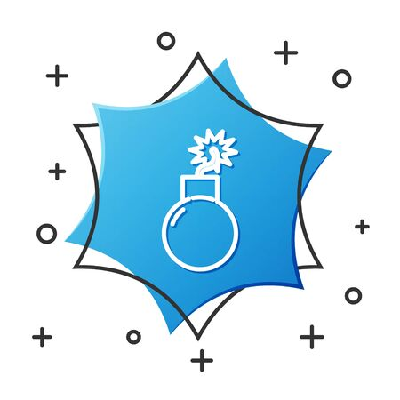 White line Bomb ready to explode icon isolated on white background. Blue hexagon button. Vector Illustration