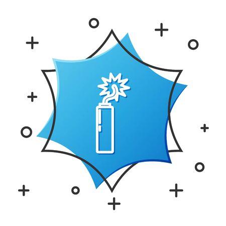 White line Detonate dynamite bomb stick clock icon isolated on white background. Time bomb - explosion danger concept. Blue hexagon button. Vector Illustration Ilustrace