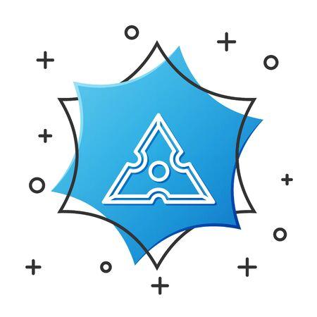 White line Japanese ninja shuriken icon isolated on white background. Blue hexagon button. Vector Illustration