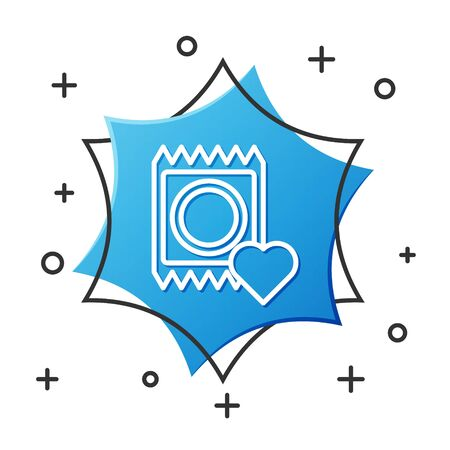 White line Condom in package icon isolated on white background. Safe love symbol. Contraceptive method for male. Blue hexagon button. Vector Illustration Vectores