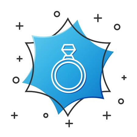 White line Diamond engagement ring icon isolated on white background. Blue hexagon button. Vector Illustration