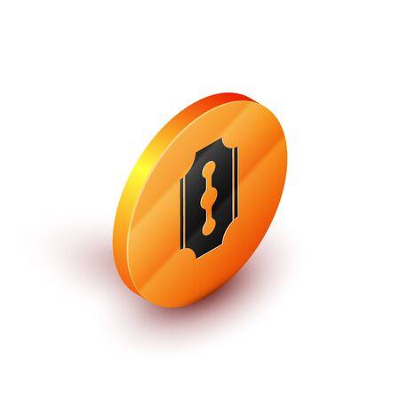Isometric Blade razor icon isolated on white background. Orange circle button. Vector Illustration