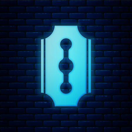 Glowing neon Blade razor icon isolated on brick wall background. Vector Illustration Иллюстрация