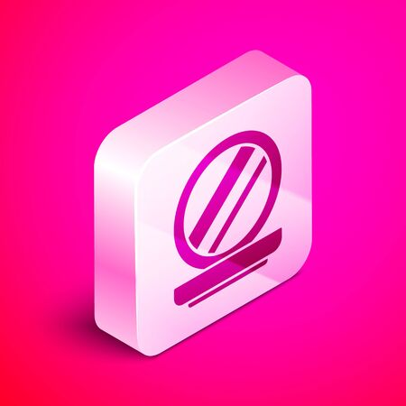 Isometric Makeup powder with mirror icon isolated on pink background. Silver square button. Vector Illustration