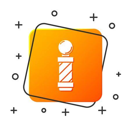 White Classic Barber shop pole icon isolated on white background. Barbershop pole symbol. Orange square button. Vector Illustration