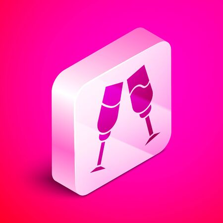 Isometric Glass of champagne icon isolated on pink background. Silver square button. Vector Illustration