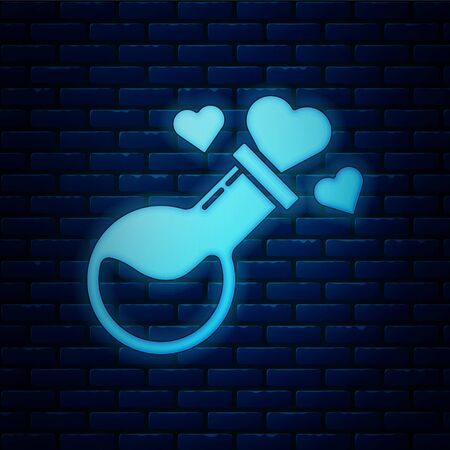 Glowing neon Bottle with love potion icon isolated on brick wall background. Valentines day symbol. Vector Illustration Illustration