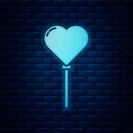 Glowing neon Balloons in form of heart with ribbon icon isolated on brick wall background. Vector Illustration
