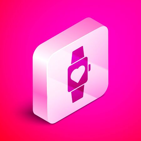 Isometric Heart in the center wrist watch icon isolated on pink background. Valentines day. Silver square button. Vector Illustration