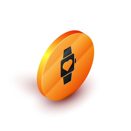 Isometric Heart in the center wrist watch icon isolated on white background. Valentines day. Orange circle button. Vector Illustration