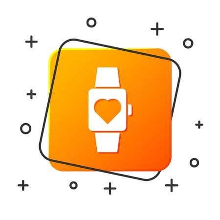 White Heart in the center wrist watch icon isolated on white background. Valentines day. Orange square button. Vector Illustration