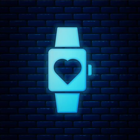Glowing neon Heart in the center wrist watch icon isolated on brick wall background. Valentines day. Vector Illustration Ilustrace